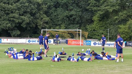 Ipswich players warm up ahead of the match against Crawley town. Picture: Steve Waller www.ste
