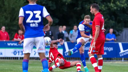 Martyn Waghorn had this shot saved late in the first half. Picture: STEVE WALLER