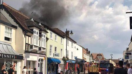 Smoke could be seen from some miles away as the flames grew but staff in the store quickly evacuated