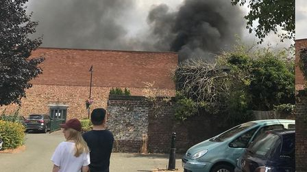Fire breaks out on the roof of Sudbury town centre store Picture: CONTRIBUTED
