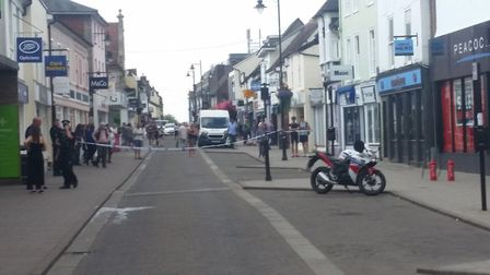 North Street, one of Sudbury's main shopping streets, was cordoned off by police today after a fire