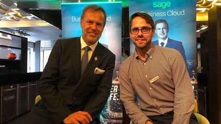 Suffolk businessman Emmerson Marshall-Critchley met with TV `dragon' entrepreneur Peter Jones, at th