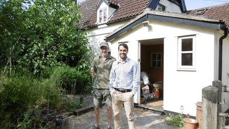 Businessman Emmerson Marshall-Critchley, right, with carpenter Matt Rivers at a refurbishment projec