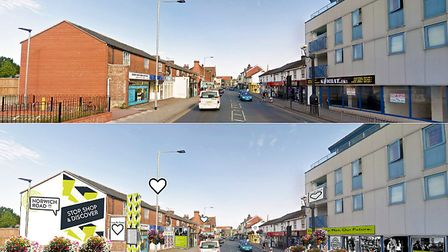 Artist's impression of how Norwich Road can be revitalised