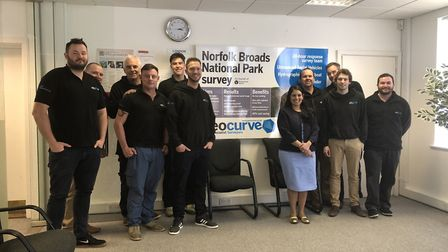 The Geocurve team with their MP Pritti Patel. Picture: Gary Nel