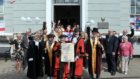 Mayors gathered outside Sudbury Town Hall to celebrate Suffolk Day 2018 Picture: SARAH LUCY BROWN
