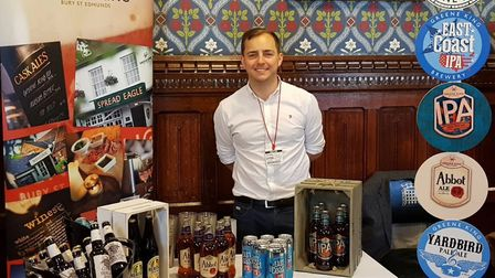 Ross O'Hara from the Westgate Brewery in Bury St Edmunds at Westminster Hall with the Greene King st