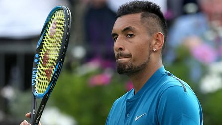 Australia's Nick Kyrgios after winning against Great Britain's Andy Murray at Queen's Photo: PA