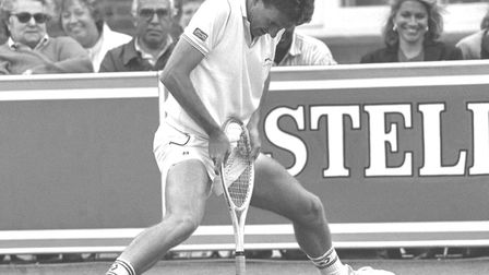 Jimmy Connors breaks the tension -- and almost breaks his racket -- at Queen's Club during his playi