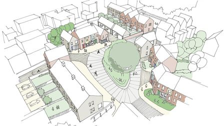 Artist impressions of the 99-home redevelopment of the former Mid Suffolk District Council headquart