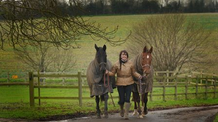 Jann Turner with two of the horses at French's Farm Picture: SARAH LUCY BROWN