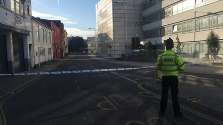 Police at the scene of a fatal stabbing in Norwich Picture: DOMINIC GILBERT