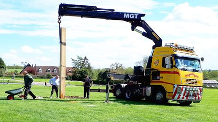 Work to put up the memorial beacon in Long Melford Picture: SUPPLIED BY JOHN NUNN