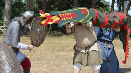 A reenactment taking place at West Stow Anglo Saxon Village during Dragon Fest Picture: ANDREW MUTIM