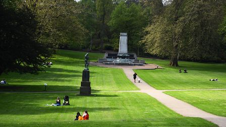 People enjoy the sunshine in Christchurch Park, Ipswich Picture: GRGG BROWN