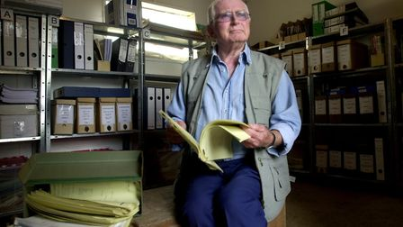 Comedy writer, the late David Croft pictured in 2004 with his scripts for Dad's Army at his home in