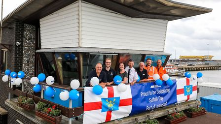 Staff at ABP's Port of Lowestoft celebrate Suffol Day at The Bascule Bridge control, Lowestoft, on 2