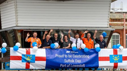 Staff at ABP's Port of Lowestoft celebrate Suffolk Day at The Bascule Bridge control, Lowestoft, on