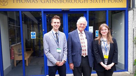 Lord Balfe with Thomas Gainsborough School head boy and girl - Connor Palmer and Francesca Perkins-T