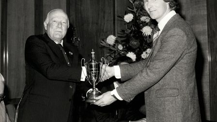 Oliver Cooper of Great Bricett Hall Farm, right, receiving the Nickerson Husbandry award back in 197