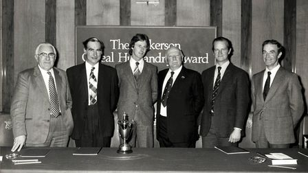 Oliver Cooper, third from left, of Great Bricett Hall Farm, receiving the Nickerson husbandry award