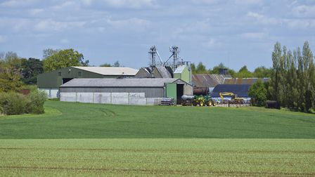 Farm buildings at Bricett Hall Farm, which is being offered up for sale through Savills Picture: CHR
