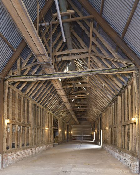 An old timber-framed barn at Bricett Hall Farm, which is being offered up for sale for �4.65m throug