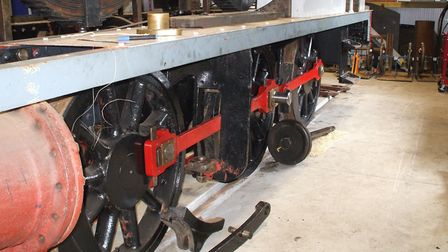 The chassis with coupling rods in place on the 1604 steam engine at The Middy Picture: MID SUFFOLK L