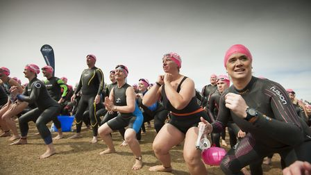 The swimmers made sure to warm up for the event properly Picture: GREAT SWIM/PETER LANGDOWN