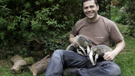 Adrian Hinchcliffe with badger cubs