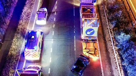 Police are appealing for witnesses after a crash on the A12 at Witham last night Picture: COLIN SHEA