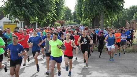 The start of Saturday's Colchester Castle parkrun, held in warm, sunny conditions. Picture: WILL CHA