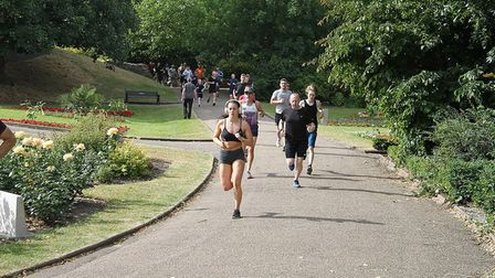Action from the 273rd staging of the Colchester Castle parkrun. The pace is hot towards the head of