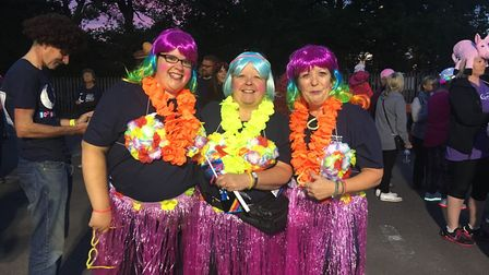 Sarah Boynton and family sporting Hawaiian-themed accessories for the big night Picture: AMY GIBBONS