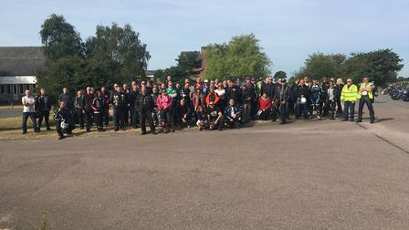 Bikers gather in Ipswich ahead of a ride through four counties organised by East Anglian Bikers Pict