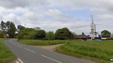 The site near Saxtead Green Post Mill where an accident left people with injuries Picture: GOOGLE