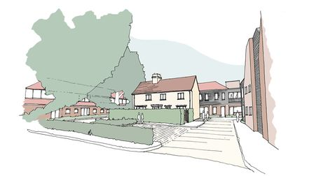 An artists impression of what the former Babergh District Council offices could like as homes in Had