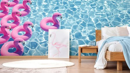 Make A Splash In The Bedroom 'Flamingoes in Pool' Wall Mural, from �26 per square metre, Wallsauce