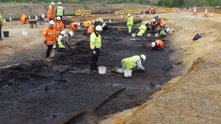 Archaeologists excavating a ditch at the site on the windfarm cable route Picture: WARDELL ARMSTRONG