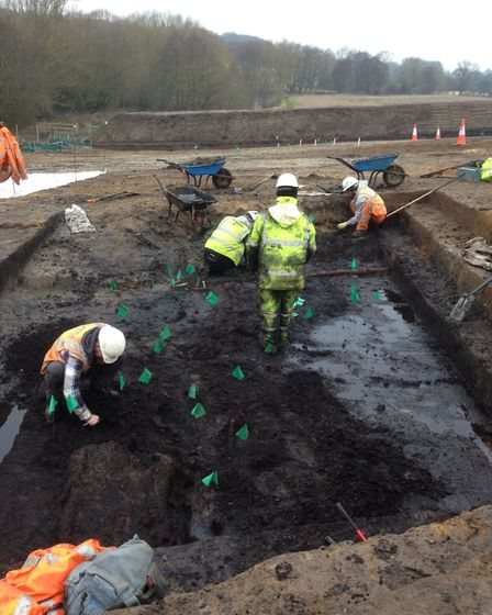 More than 70 archaeologists have been working at the site of the Neolithic trackway Picture: WARDELL