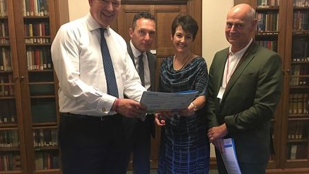 From left, Jesse Norman MP , John Dugmore, Jo Churchill MP and Nick Burfield Picture: ANNA TREVERS