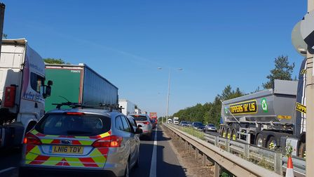 Traffic is stretching back eight-miles on the A12 Picture: IZZY MAGYAR