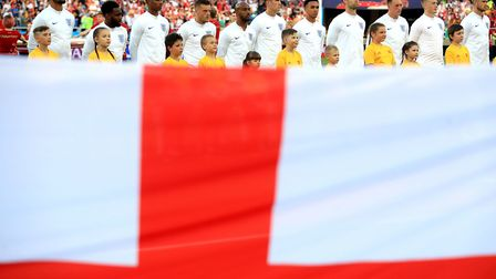 England players line-up before the FIFA World Cup Group G match at Kaliningrad Stadium against Belgi