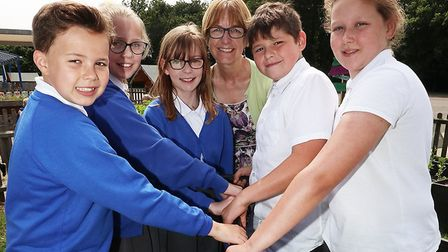 Pupils of Woodhall School helped Sudbury In Bloom to launch their Pride of Sudbury 2018 competition.
