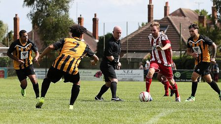 New Stowmarket Town signing Scott Chaplin in action for Felixstowe against Stow last season. Picture