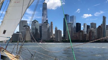 The New York skyline from the clipper 70 boat Picture: IAN DIXON