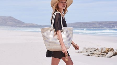 Dress for the weather - a sun hat, light clothing and this F&F metallic beach bag �18. PictureF&F/PR