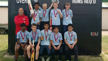 Newmarket Academy have won a Suffolk under 13 cricket title. Back row (L-R): Neil Fisher (Assistant