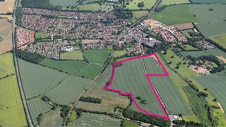 An aerial view showing The Layers at Saxmundham - two possible development schemes have been brought