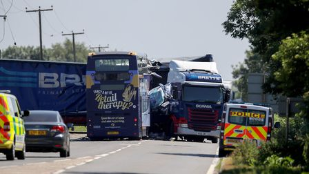 The scene of the crash on the A47 Picture: CHRIS RADBURN/PA WIRE